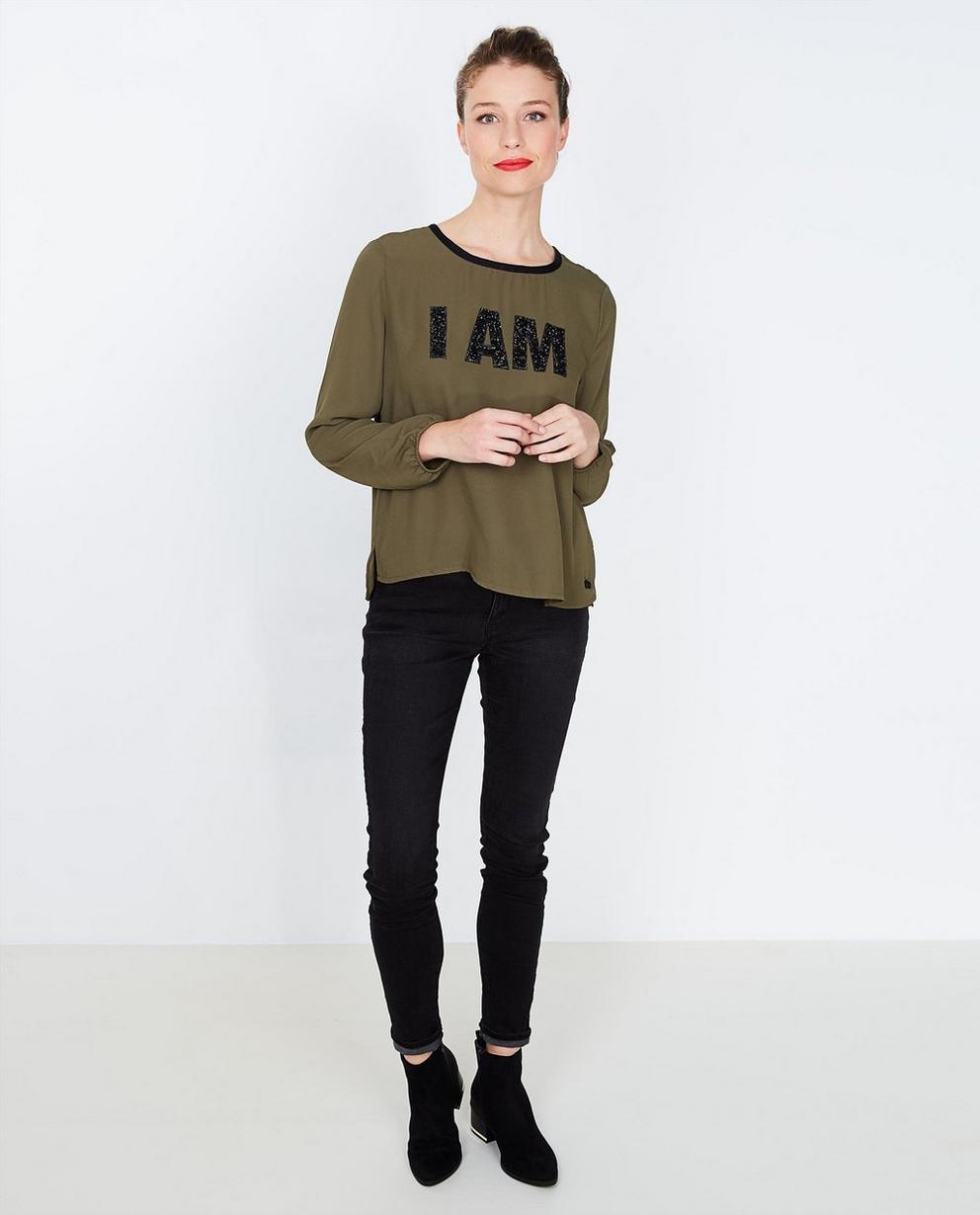 Kaki blouse met strass - I AM - I AM